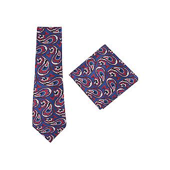 JSS Navy And Red Patterned Tie And Pocket Square Set