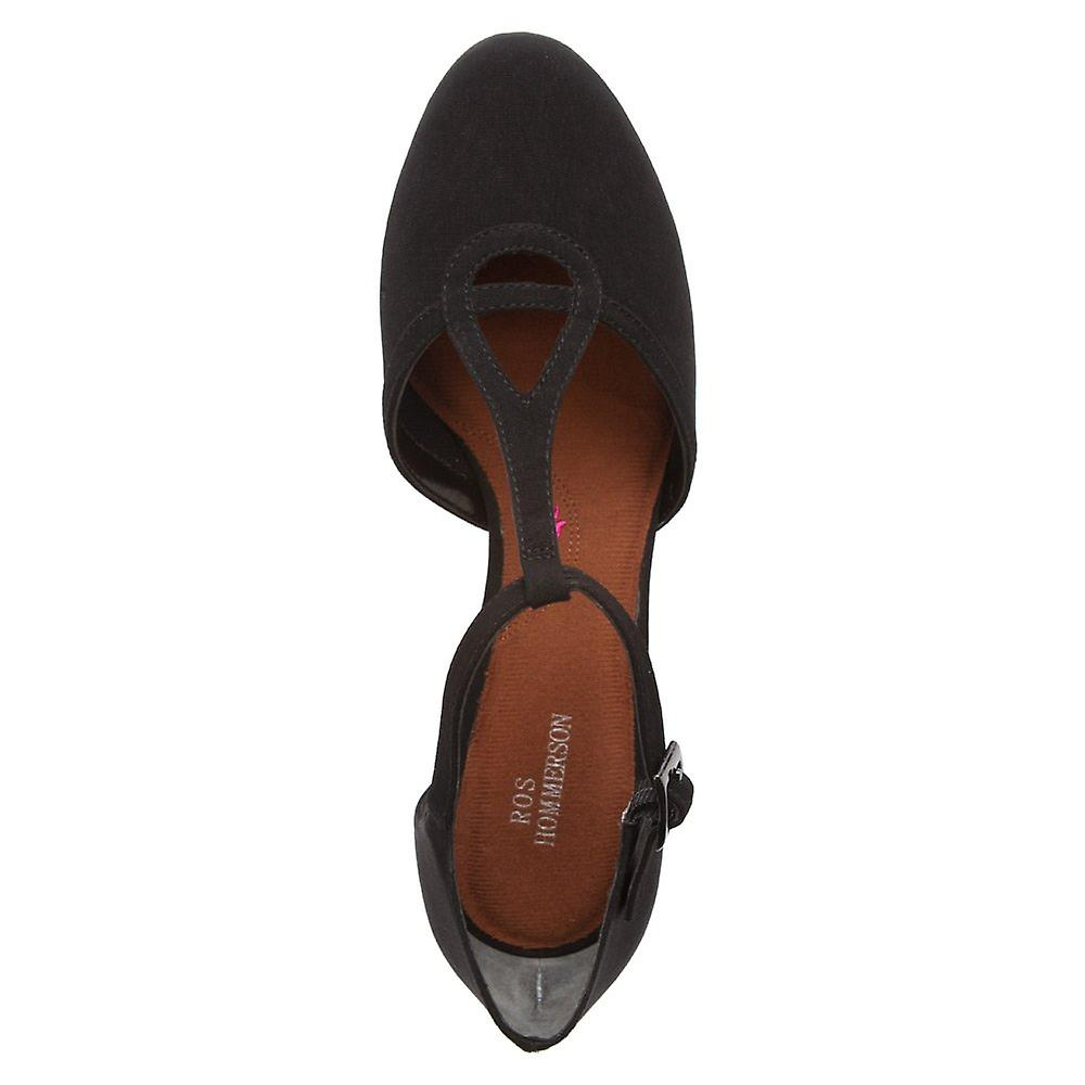 Ros Hommerson Womens Heidi Leather Round Toe T-strap, Black Microtouch, Size 8 X-narrow