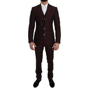Dolce & Gabbana Bordeaux Wolle Seide Martini Slim Fit Anzug