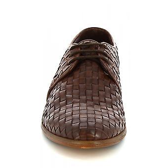 Zapatos Leonardo Hombres's zapatos mocasines hechos a mano en piel de becerro tejida marrón oscuro