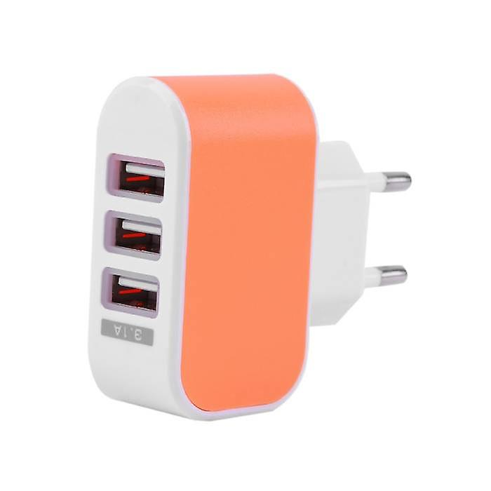 Stuff Certified® 5-Pack Triple (3x) USB Port iPhone / Android Wall Charger Wall Charger AC Orange Home