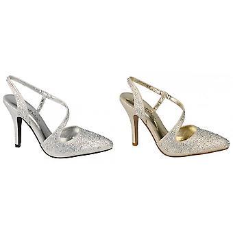 Anne Michelle Womens/Ladies Diamante Y Strap Slingback Heels