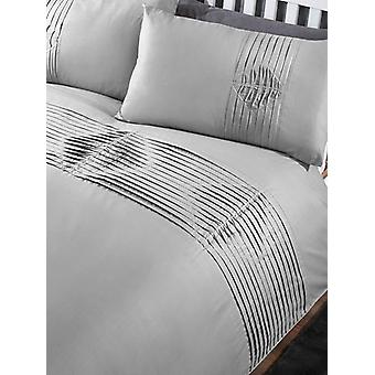 Boston Duvet Cover and Pillowcase Bed Set - King, Grey