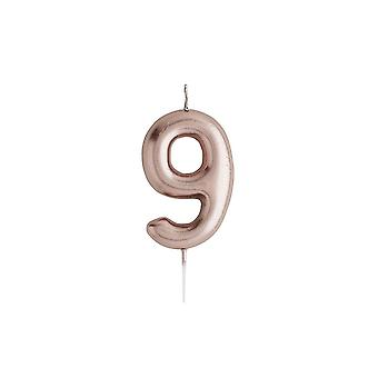Rose Gold Birthday Party Candle, Number 9 Rose Gold Candle