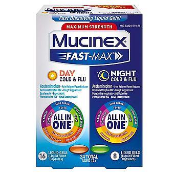 Mucinex fast-max day & night cold & flu, liquid gels, 24 ea