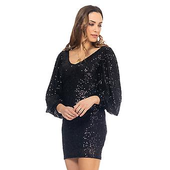Sequin dress with lantern sleeve