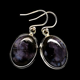 "Gabbro Stone Earrings 1 3/8"" (925 Sterling Silver)  - Handmade Boho Vintage Jewelry EARR399384"