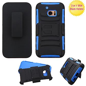 ASMYNA Advanced Armor Stand Case w/ Holster for HTC 10 - Black/Dark Blue