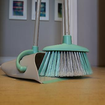 Charles Bentley Brights Indoor Long Handled Lobby Dustpan & Brush Set Mint Green