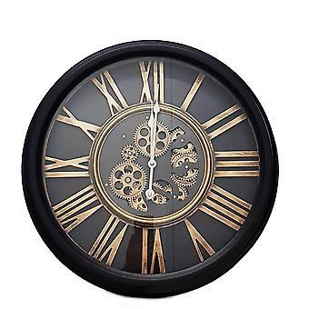Round 52cm William moving cogs wall clock - Black