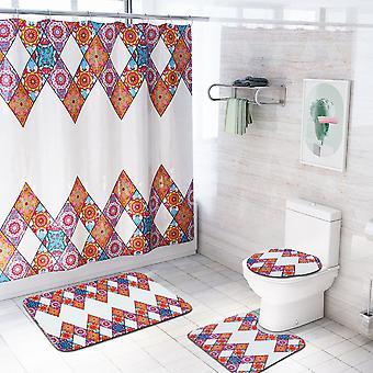 4 Piece Multicolored Shower Curtain Set