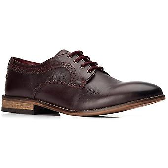 Basis Londen Mens Haddon Softy Lace Up Schoen Donker Rood
