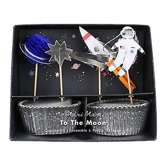 Meri Meri tér a Hold Cupcake szett/Space Party 24 ügyekben és a Toppers