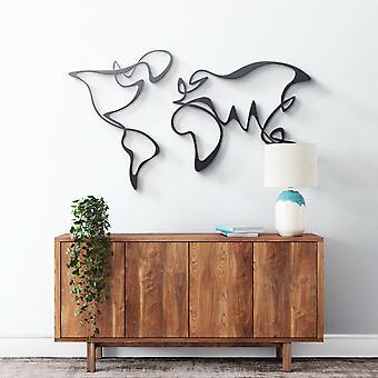 Metallwandkunst - Abstract World Map