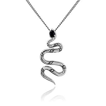 Art Deco Style Pear Black Spinel & Marcasite Snake Necklace in 925 Sterling Silver 214N661401925