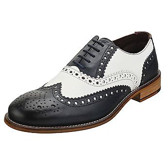 London Brogues Gatsby Mens Brogue Shoes in Navy White