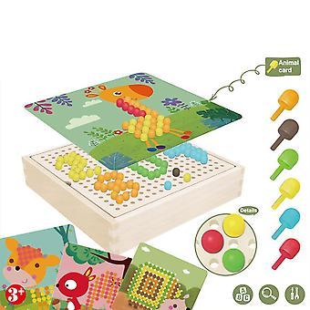 240pcs-3D-puzzle játékok, gomba-köröm Fa Storage Box, diy Oktatási