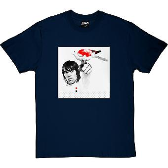 Ian Brown Red, White and Black Dove Navy Blue Men's T-Shirt