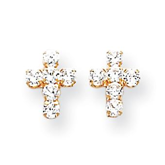 14k Yellow Gold Polished CZ Cubic Zirconia Simulated Diamond Religious Faith Cross Post Earrings Measures 9x7mm Jewelry