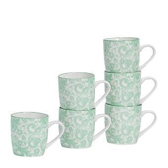 Nicola Spring 6 piezas Paisley patrón té y café taza set - tazas de capuchino de porcelana pequeña - verde - 280ml