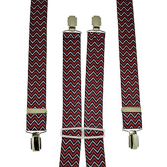 Ties Planet Navy Blue, Red & White Zig Zag Patterned Men's Trouser Braces