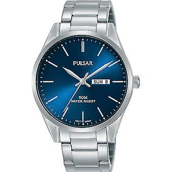 Pulsar PJ6109X1 Mens Stainless Steel Bracelet Blue Dial 50M Watch (PJ6109X1)