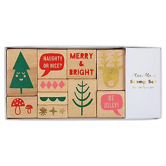 Meri Meri Joulu leimasetti & muste 10 postimerkkiä ja 4 muste käsityötä