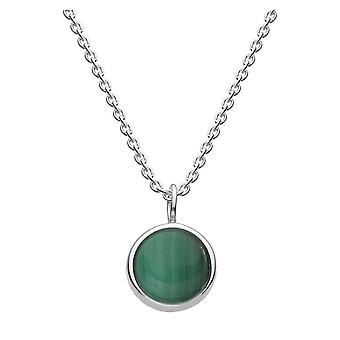 Dug sterling sølv Malachite 18 halskæde 9738ML021