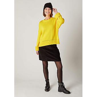 Heather short cord skirt - black