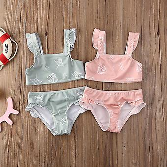 Sleeveless Ruffle Swimwear For Newborn Baby