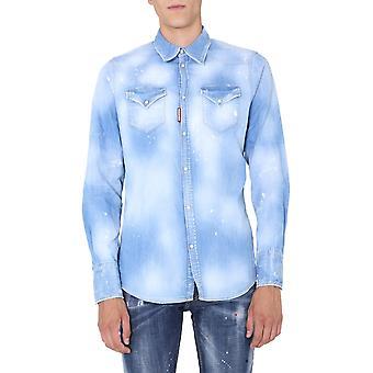 Dsquared2 S74dm0452s30341470 Män's Ljusblå bomullsskjorta