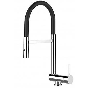 Single-lever Kitchen Sink Mixer With Black Spout And 2 Jets Shower - 98