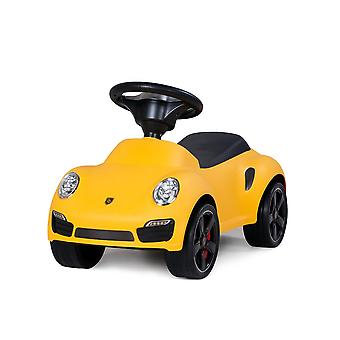 Licensed porsche 911 turbo s kids foot to floor push along ride car yellow