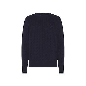 Tommy Hilfiger Tommy Hilfiger Organic Cotton Cable Crew Neck Mens Jumper