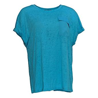 DG2 by Diane Gilman Women's Top Blue Tunic Pocket Short Sleeve 723-680