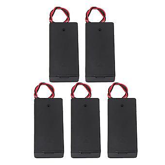 5 db AA akkumulátortartó tároló vezetékvezetékekkel és be-/kikapcsolóval