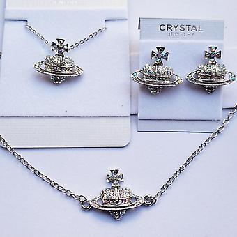 Heart Rhinestone Fashion Jewelry Set Necklace Earrings Bracelet