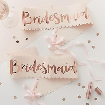 Rose Gold Bridesmaid Sashes x2   Team Bride Hen Party Favours