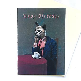 Happy Birthday Tea Kitty Card