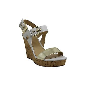 Nine West Womens Scarlett Leather Open Toe Casual Platform Sandals