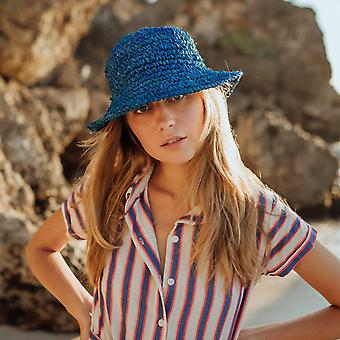Kirana Raffia Boater Hat, In Tropical Blue