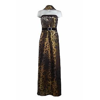 Tryckt Iriserande klänning med matchande sjal. Helfodrad. Av Cachet.