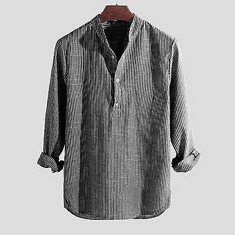 الربيع والصيف، عارضة الرجال & apos؛s قميص، القطن كم طويل، مخطط سليم صالح، الوقوف