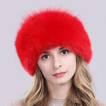 Hot Russian Winter Natural Fox Fur Hat Warm Soft Fluffy Real Fox Fur Bomber