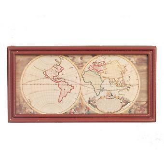 Dolls House muinainen kartta pähkinäpuurunkoinen opiskelutoimisto koulu lisävaruste