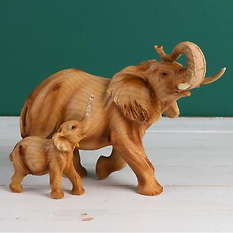Widdop & Co. Wood Effect Resin Elephant & Calf