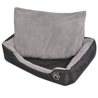 Hundebett mit gepolstertem Kissen Größe L Schwarz