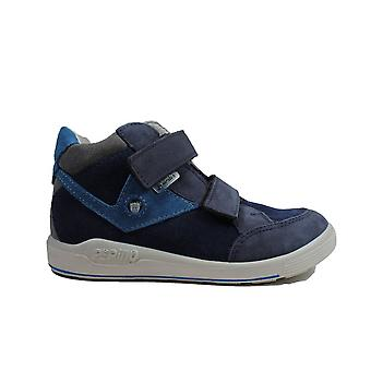 Ricosta Kimo Wide Fit 2431400-172 Blue Nubuck Leather Boys Rip Tape Water Resistant Ankle Boots