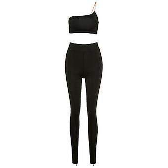 Top a una spalla e pantaloni lunghi skinny- Set a due pezzi