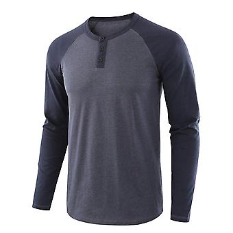 YANGFAN Miesten's Stitching Pitkähihainen T-paita